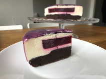 white chocolate mousse cake, with a raspberry jelly insert and a salty brownie bottom